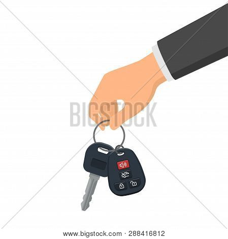 Hand Holding A Key And A Fob. Concept Of Buying Or Renting A New Car. Vector Illustration In Flat St