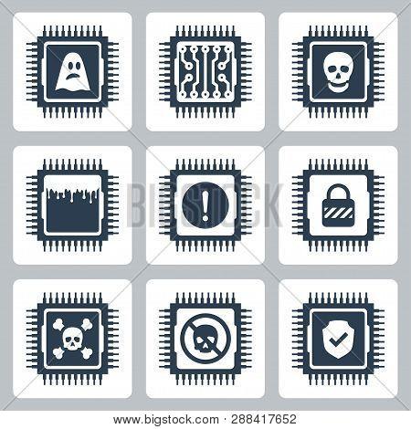 Vector Icon Set Of Cpu Critical Exploit Vulnerabilities