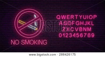 Glowing Neon Sign No Smoking With Alphabet. Ban On Nicotine And Smoke Cigarettes. Signboard Of No Sm