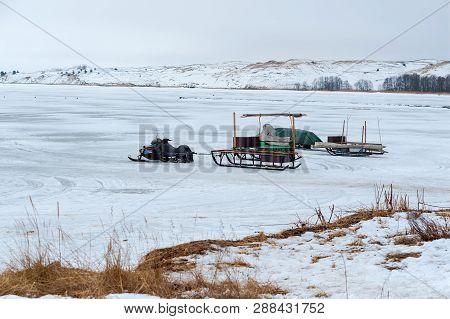 Ice Fishermen, Snow And Ice Fishing Sled, Curonian Lagoon, Nida, Klaipeda County, Lithuania, 10 Marc