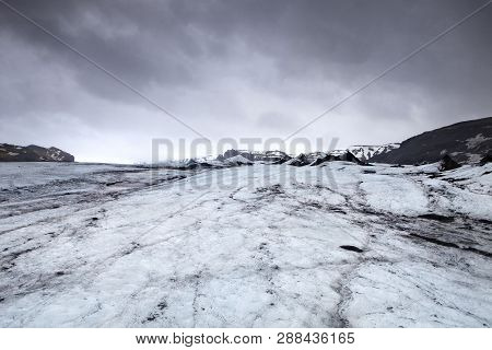 Glacial Ice Covers The Land In Iceland