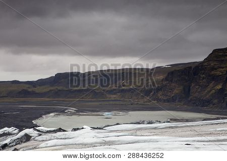 The Glacial Lagoon Is Smaller Before The Spring Melt