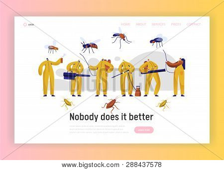 Mosquito Pest Control Professional Character Landing Page. Man In Uniform Fight With Insect. Cockroa