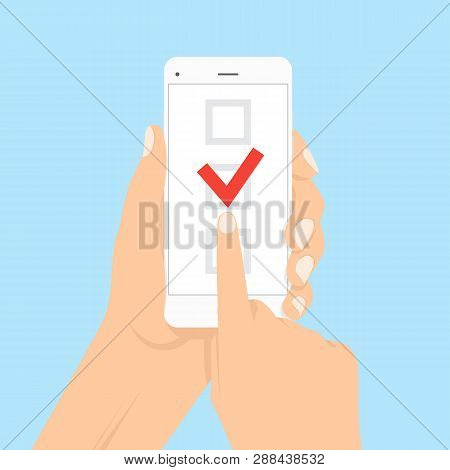 Smartphone With Checklist On Screen. Online Form Survey, Smartphone With Showing Long Quiz Exam Pape