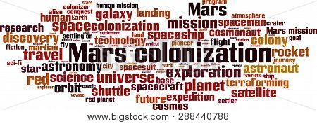 Mars Colonization Word Cloud Concept. Vector Illustration On White