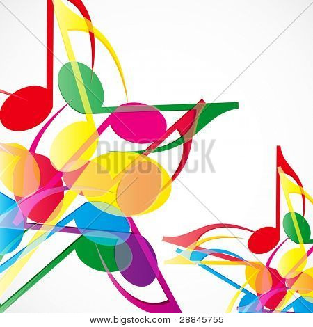 Music stars background. Colorfull music notes.