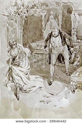 Pierre Buzuhov  and his wife Helen. Illustration by artist A.P. Apsit from book