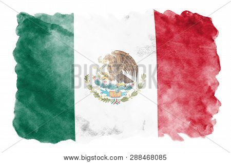 Mexico Flag  Is Depicted In Liquid Watercolor Style Isolated On White Background