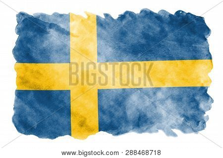 Sweden Flag  Is Depicted In Liquid Watercolor Style Isolated On White Background