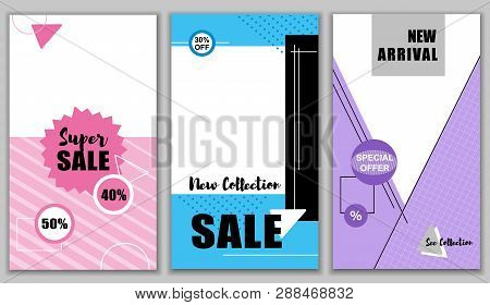 Flat Banner Super Sale New 40 50 Percent Collection 30 Off. Set New Arrival. Special Offers Watch En