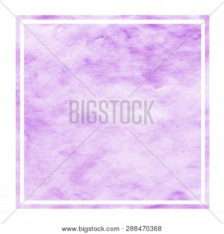 Purple Hand Drawn Watercolor Rectangular Frame Background Texture With Stains