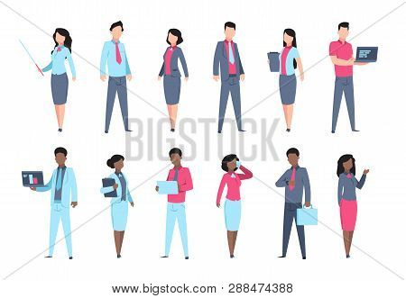 Office People Set. Businessman Characters Secretary Woman Employee Business Professional Person. Vec