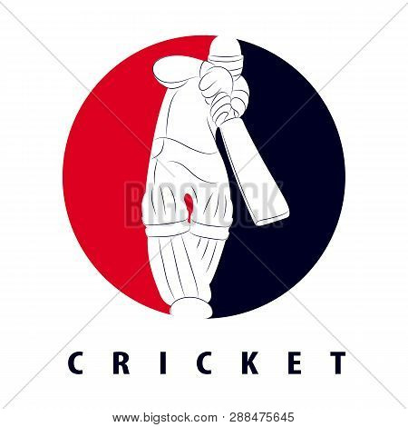 Batsman Playing Cricket. Cricket Competition Logo. Stylized Cricketer Character For Website Design.