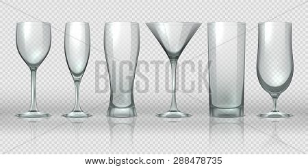 Glass Cups. Empty Transparent Glasses And Goblet Mockups, Realistic 3d Bear Pint And Cocktail Glassw