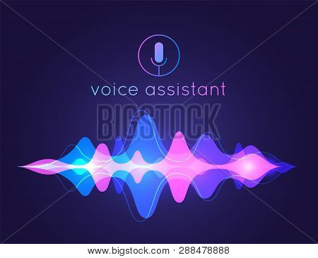 Voice Assistant Sound Wave. Microphone Voice Control Technology, Voice And Sound Recognition. Vector