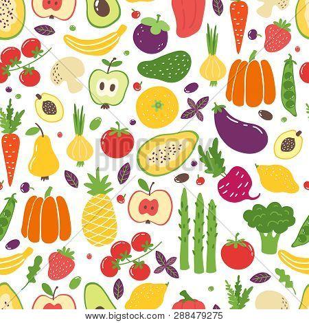 Flat Vegetables Seamless Pattern. Hand Drawn Colorful Fruits, Organic Natural Vegetarian Food. Vecto