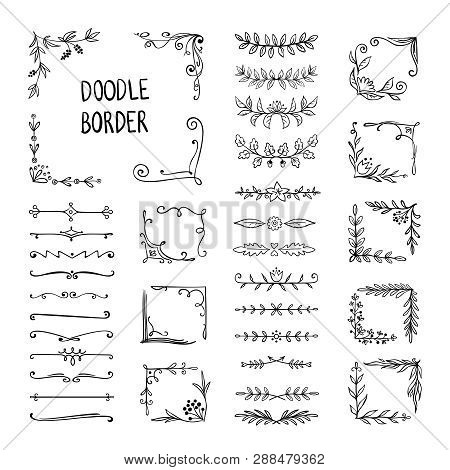 Doodle Border. Flower Ornament Frame, Hand Drawn Decorative Corner Elements, Floral Sketch Pattern.