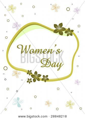 Vector illustration of a elegant greeting card with text women's day and copy space on floral background for International Women's Day