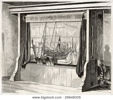 Loom in Gobelins Manufactory old illustration, Paris. By unidentified, published on Magasin Pittoresque, Paris, 1845