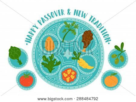 Passover Holiday Cute Traditional Seder Plate With New Tradition. Childish Print For Cards, Invitati
