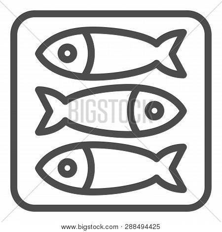 Sprat Fish Line Icon. Food Vector Illustration Isolated On White. Seafood Outline Style Design, Desi