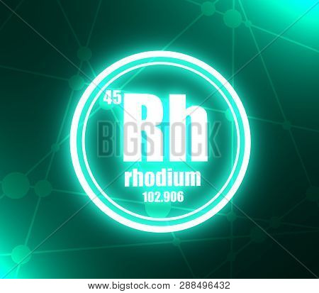 Rhodium Chemical Element. Sign With Atomic Number And Atomic Weight. Chemical Element Of Periodic Ta