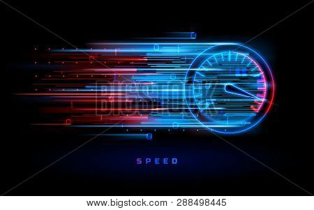 Download Progress Bar Or Round Indicator Of Web Speed. Sport Car Speedometer For Hud Background. Gau