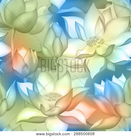 Lotus Buds And Flowers Seamless Fabric Print. Water Lilly Nelumbo Aquatic Plant Botanical Design. Sa