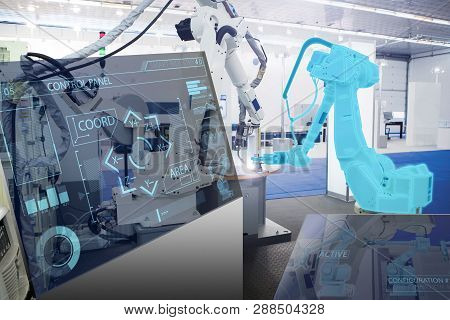 Futuristic Transparent Computer For Control Of Robots In A Smart Factory. Smart Industry 4.0 Concept