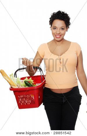 Full lenght picture of a pregnant pleased woman carrying a shopping basket, isolated on a white background.