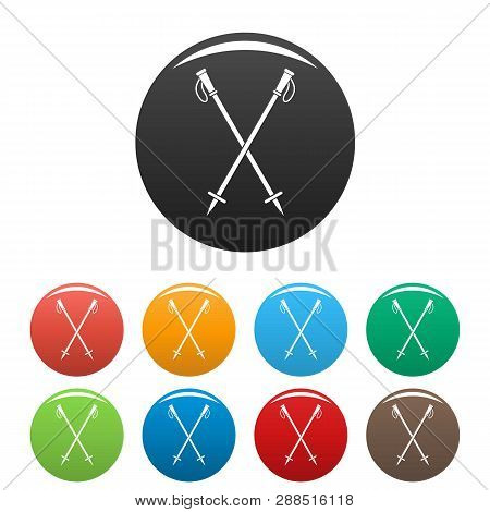 Nord walk sticks icons set 9 color isolated on white for any design poster