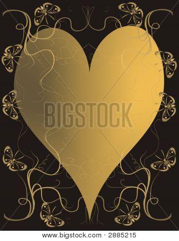 golden heart on black background - vector illustration poster