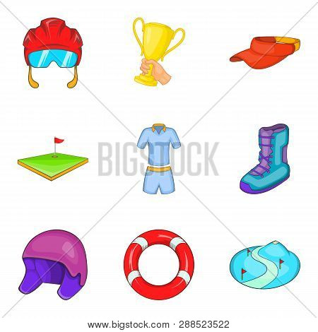 Active Lifestyle Icons Set. Cartoon Set Of 9 Active Lifestyle Icons For Web Isolated On White Backgr