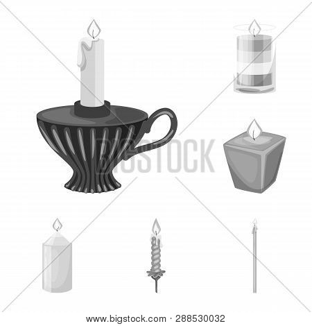 Vector Design Of Paraffin And Fire  Logo. Collection Of Paraffin And Decoration    Stock Vector Illu