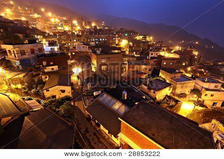 chiu fen village at night, in Taiwan poster