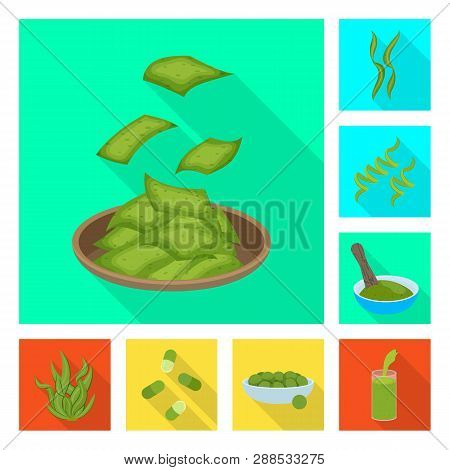 Vector design of protein and sea logo. Collection of protein and natural vector icon for stock. poster