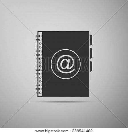 Address book icon isolated on grey background. Notebook, address, contact, directory, phone, telephone book icon. Flat design. Vector Illustration poster