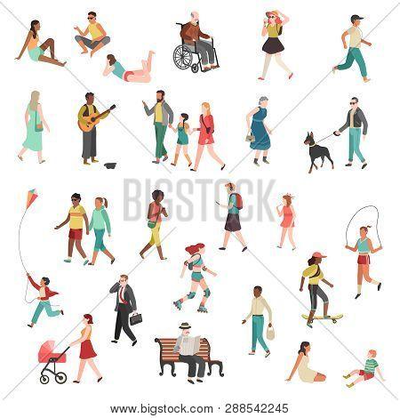 Walking Flat People. Character Person Standing Talking Running Woman Man Girl City Street Children D