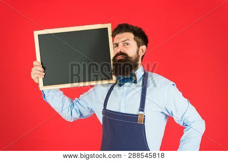 Exclusive Cocktail. Hipster Restaurant Staff. Hipster Informing You. Man Bearded Bartender Or Cook I