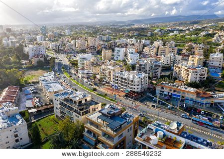 Aerial Drone View Of Limassol Cityscape. Cyprus.
