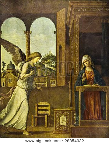"""Cima da Conegliano """"Annunciation"""" (1495). Reproduction from illustrated Encyclopedia ?«Art galleries of Europe?», Partnership ?«M. O. Wolf?», St. Petersburg - Moscow, Russia , 1901 poster"""