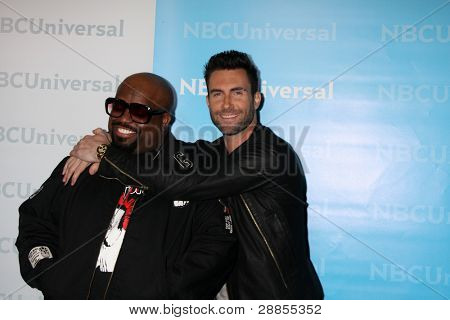 LOS ANGELES - JAN 6:  CeeLo Green, Adam Levine arrives at the NBC Universal All-Star Winter TCA Party at The Athenauem on January 6, 2012 in Pasadena, CA