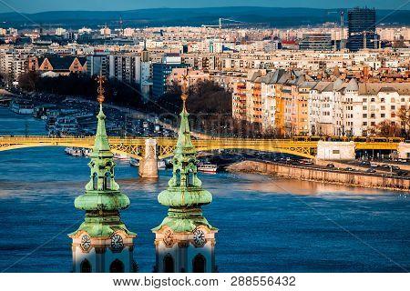 Margaret Bridge And St. Anna Church At Danube Embankment. Budapest, Hungary.