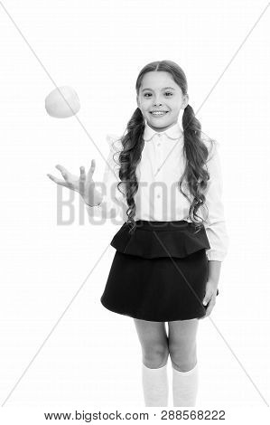 Detox And Diet. Healthy Nutrition Diet. Girl Pupil Hold Apple Fruit On White Background. Kid Happy H