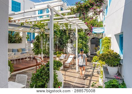 Sifnos, Greece - September 11, 2018: Restaurant In Apollonia, The Capital Of Sifnos. Cyclades, Greec