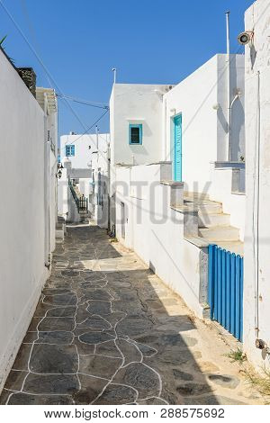 Sifnos, Greece - September 11, 2018: Typical Street Of Beautiful Apollonia, The Capital Of Sifnos. C