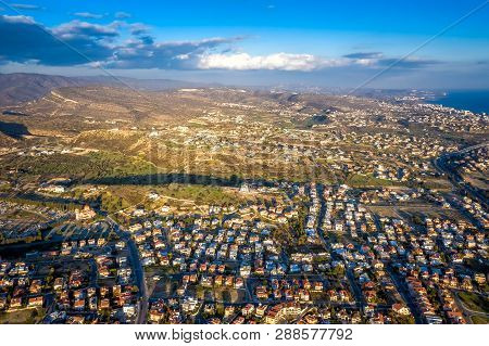 Aerial View Of A Neighborhood In Suburban Limassol. Cyprus.