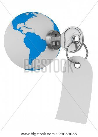 world and key on white background. Isolated 3D image