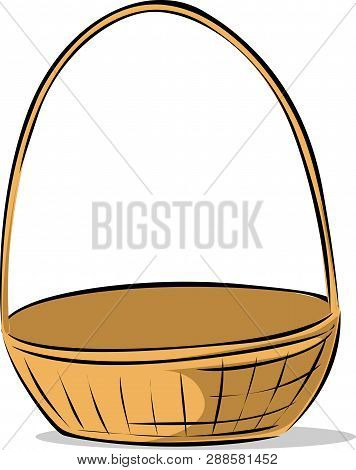 Empty Vector Easter Basket Sketch Illustration - Place Anything In The Basket