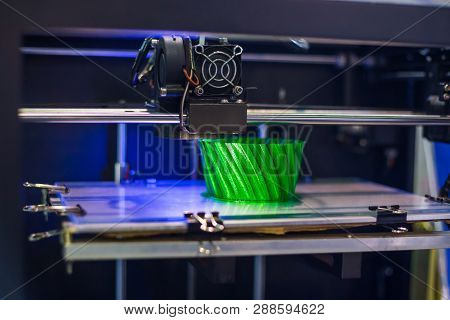 Three Dimensional Printing Machine Printing 3d Plastic Model At Modern Technology Exhibition. 4.0 In